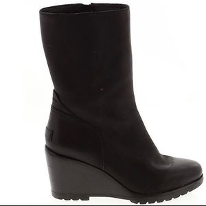 New Sorel After Hours Black Mid Calf Wedge Boots 8